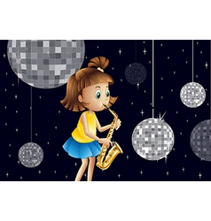 A girl performing inside the disco house vector image vector image