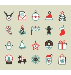 Christmas icons set Holiday objects collection vector image