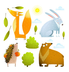 wild baby animals clip art collection fox rabbit vector image vector image