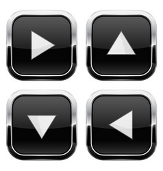 Black glass buttons with arrows square 3d icons vector