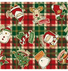 Funny Christmas elements with tartan background vector image