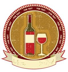 Red wine bottle labelVintagel background on old vector image vector image