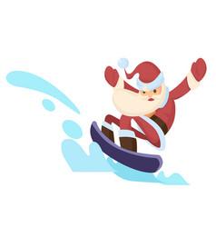 santa claus riding snowboard vector image vector image