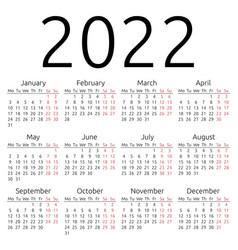 Simple calendar 2022 monday vector