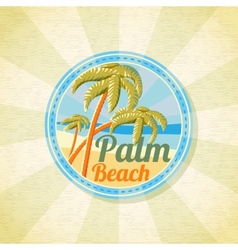 Summer palm beach retro background vector