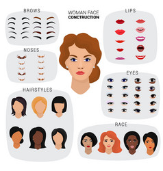 woman face constructor female character vector image