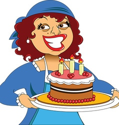 Cartoon woman with plate of food vector image vector image