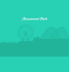 silhouette of amusement park landscape vector image