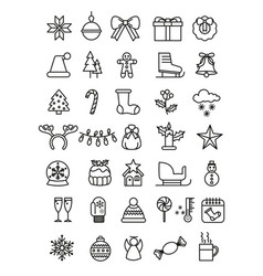 simple set of christmas icons vector image
