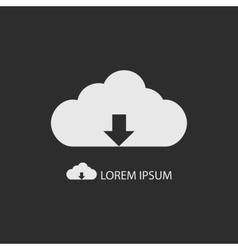 White cloud with downloading sign as logo vector image