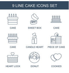 9 cake icons vector image