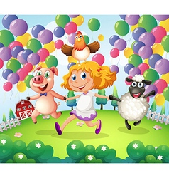 A child playing with the animals in the farm vector