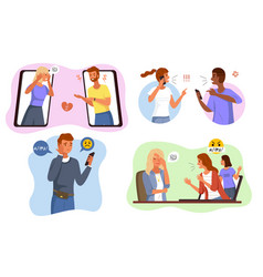Aggressive messages online bullying scenes angry vector