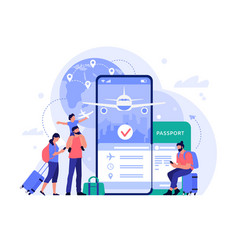 air travel ticket buying app people buying vector image