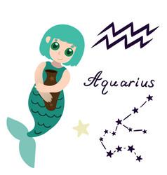 Aquarius zodiac sign cartoon mermaid isolate vector