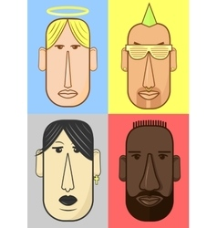 Avatar woman man heads characters vector image