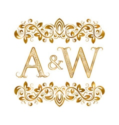 Aw vintage initials logo symbol letters a w vector
