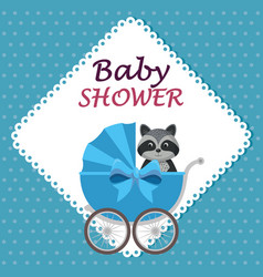 Baby shower card with cute raccoon in cart vector