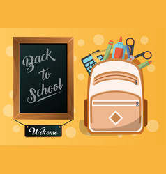 back to school card with school supplies vector image