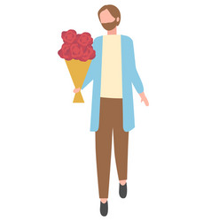 bearded man with flower bouquet isolated cartoon vector image