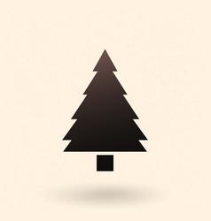 black silhouette icon - pine tree vector image