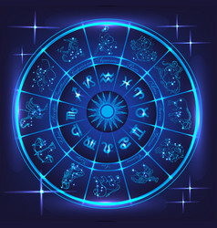 blue horoscope circle vector image