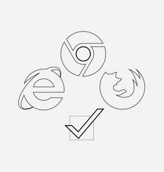 Browser compatibility icon line element vector