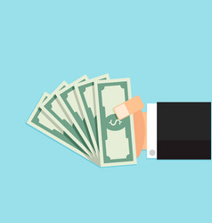 bundle of money in hand vector image