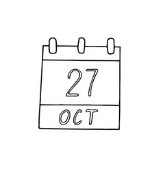 Calendar hand drawn in doodle style october 27 vector