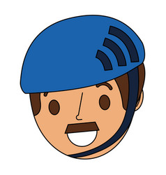 cartoon face man adult wearing sport helmet vector image