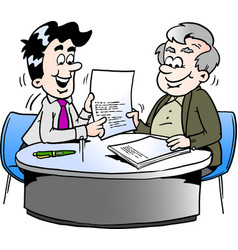 cartoon of an business man and a older man having vector image