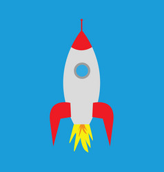 cartoon rocket on a blue background vector image