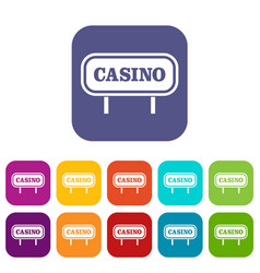 Casino sign icons set vector