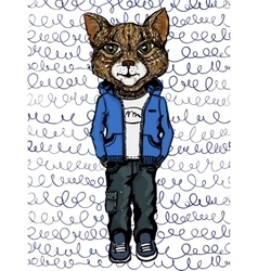 Cat wearing casual clothes vector
