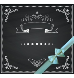 Chalkboard Card with Doodle Hand Sketched vector image