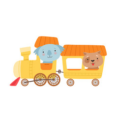 Cheerful red cheeked koala and dog driving toy vector