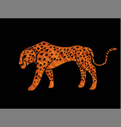 cheetah side view tiger graphic vector image