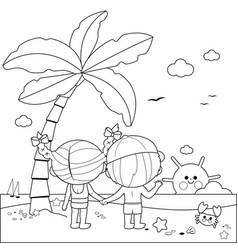 children at beach under a palm tree vector image