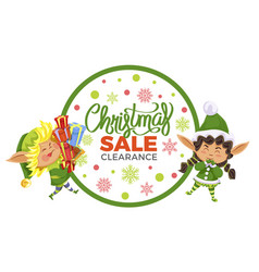 christmas sale clearance in shop elves with gift vector image