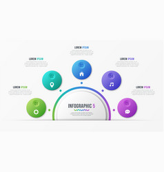 Circle chart template with 5 options vector