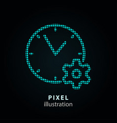 Clock time - pixel icon on vector
