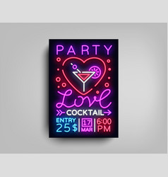 cocktail party poster template love vector image