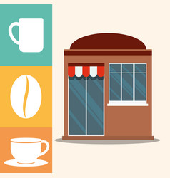 Coffee shop market facade vector