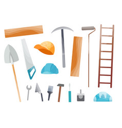 collection hand tool set equipment vector image