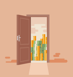 concept opened door to gold and money vector image