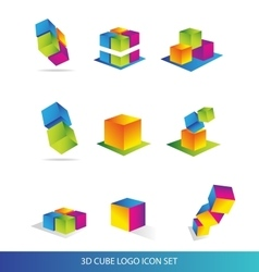 Cube 3d logo icon set colors vector image
