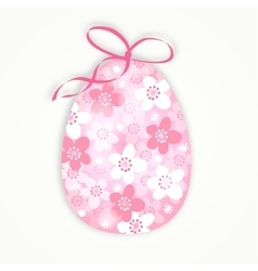 Cute easter card with floral egg with japanese vector image