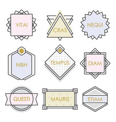 Cute geometrical line vintage emblems and labels vector