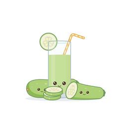 Cute kawai smiling cartoon zucchini juice vector