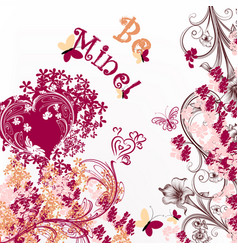 cute valentine or wedding card be mine vector image